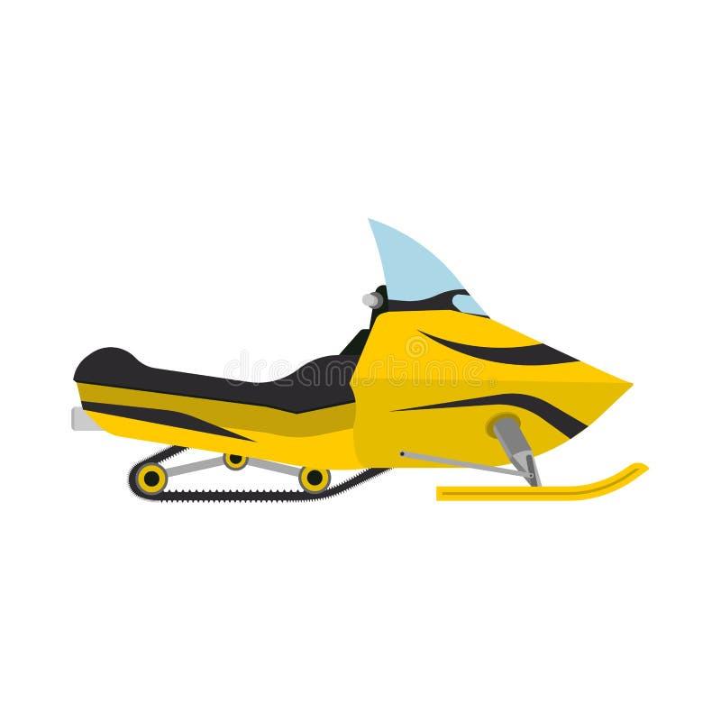 Transport neigeux de récréation extérieure jaune de voyage de vue de côté de motoneige L'atv d'hiver d'équipement de tour de puis illustration stock