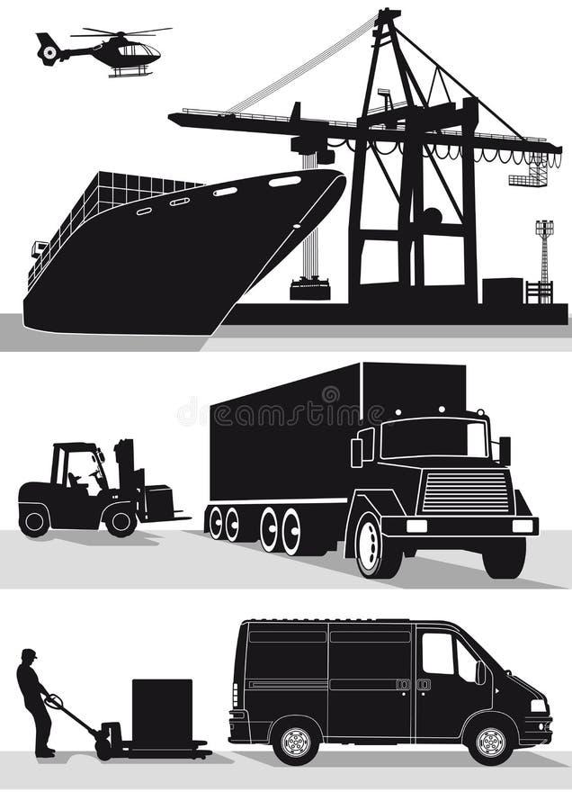 Transport- och fraktsymboler vektor illustrationer