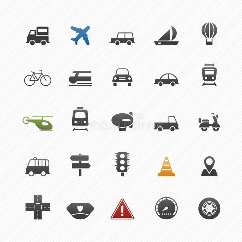 Transport och uppsättning för trafiksymbolsymbol vektor illustrationer