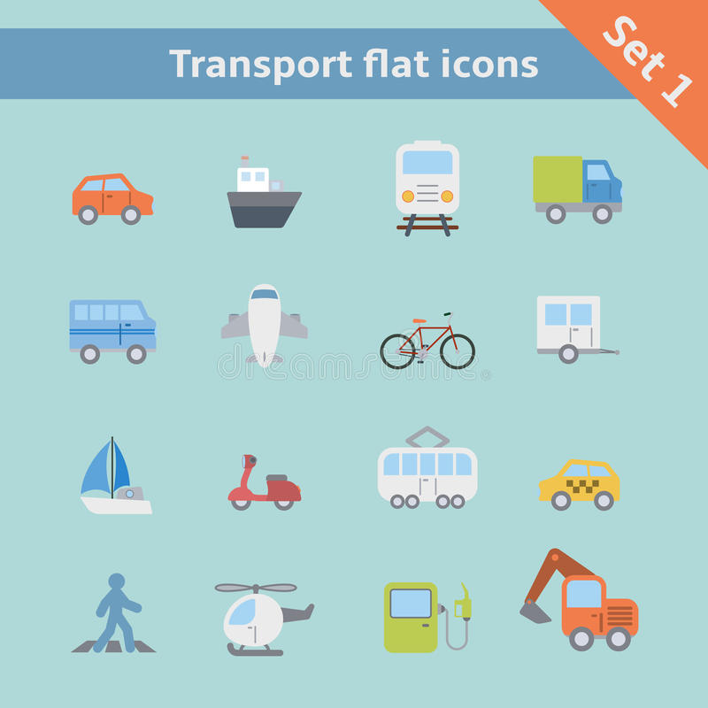 Transport płaskie ikony ustawiać ilustracja wektor