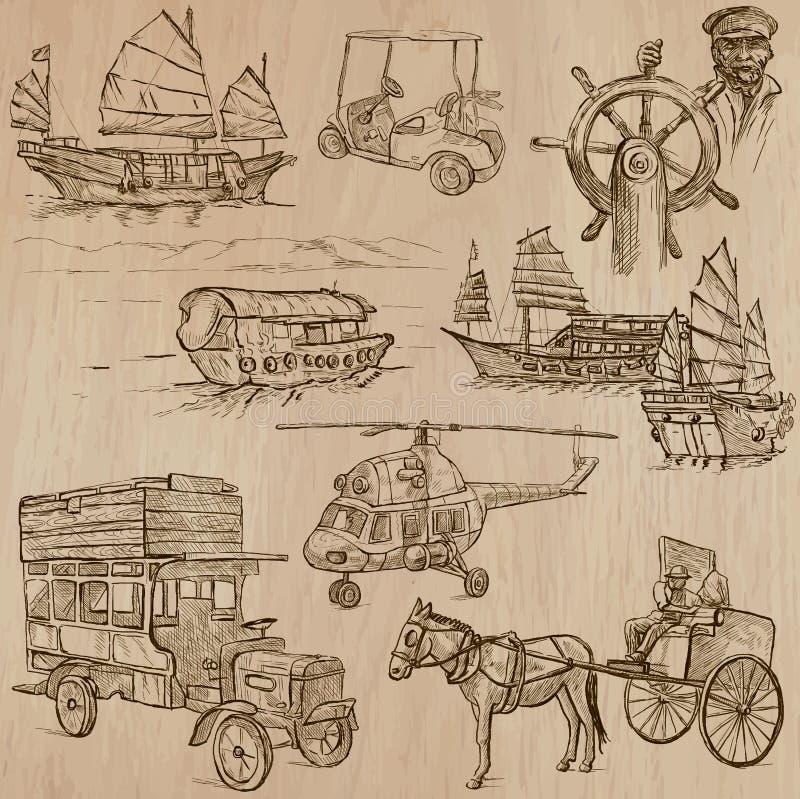 Transport pack - Hand drawn vectors, line art stock illustration