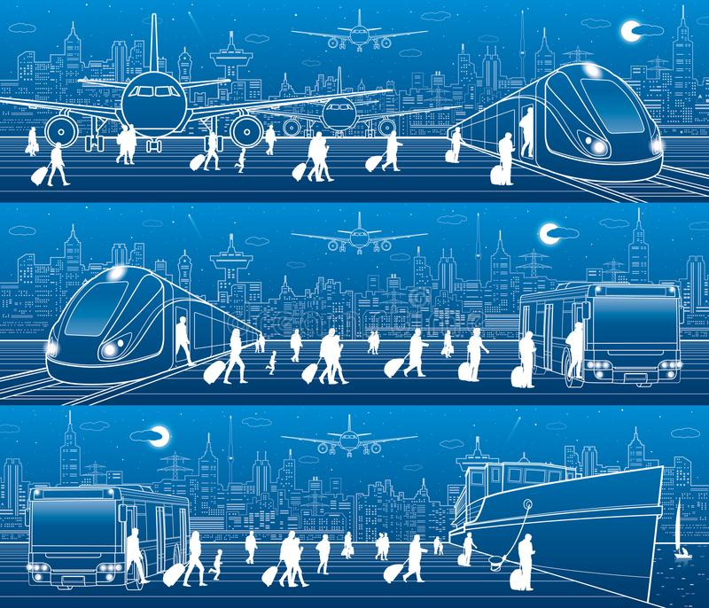 Transport panorama set. People get on train leaving airplane. Passengers go at bus exit train. Humans go to ship from bus Travel royalty free illustration