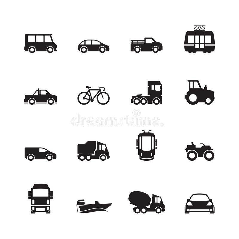 Free Transport Pictogram. Car Ship Subway Train Yacht Road Symbols Truck Side View Transport Silhouette Icon Collection Stock Image - 158047311