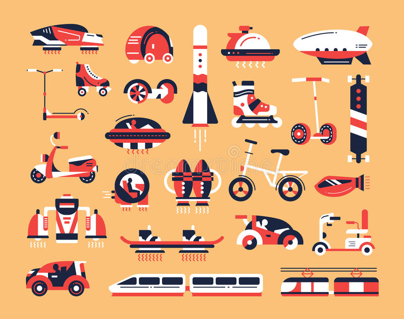 Transport - plan designsymbolsuppsättning royaltyfri illustrationer