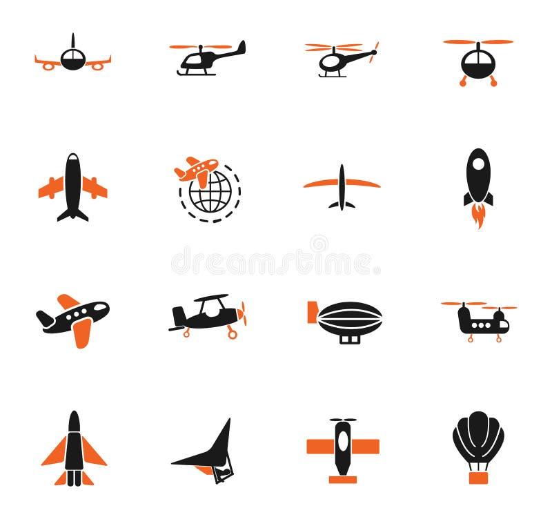 Transport powietrzny ikony set royalty ilustracja