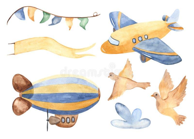 Transport powietrzny w akwareli ilustracji