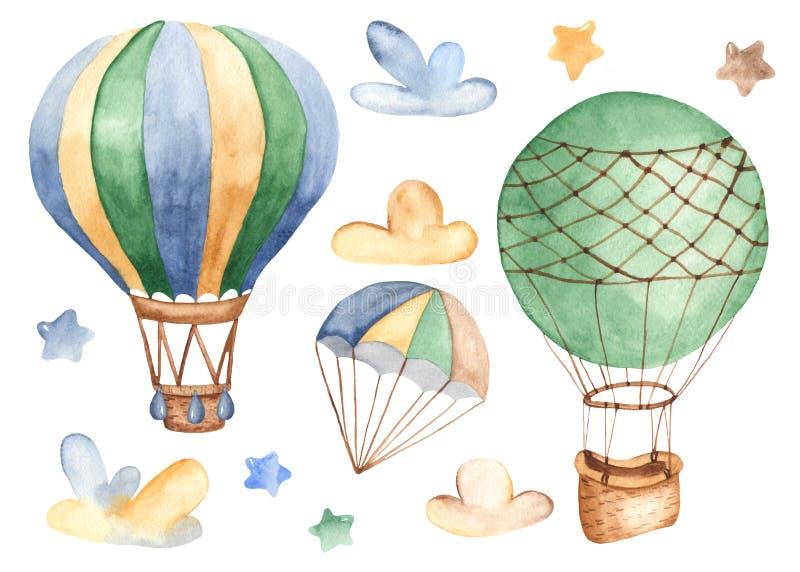 Transport powietrzny w akwareli royalty ilustracja