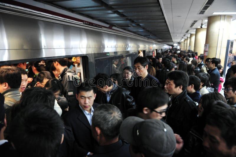 Transport public dans le souterrain de la Chine - de Pékin images stock