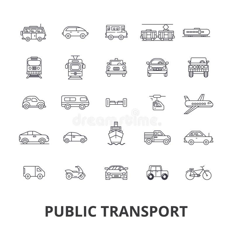 Transport publiczny, transport, metro, autobusowa przerwa, ruch drogowy, taxi, miasto autobusowej linii ikony Editable uderzenia  ilustracji