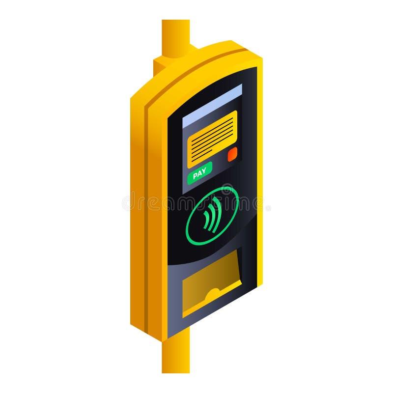 Transport publiczny płatnicza śmiertelnie ikona, isometric styl royalty ilustracja