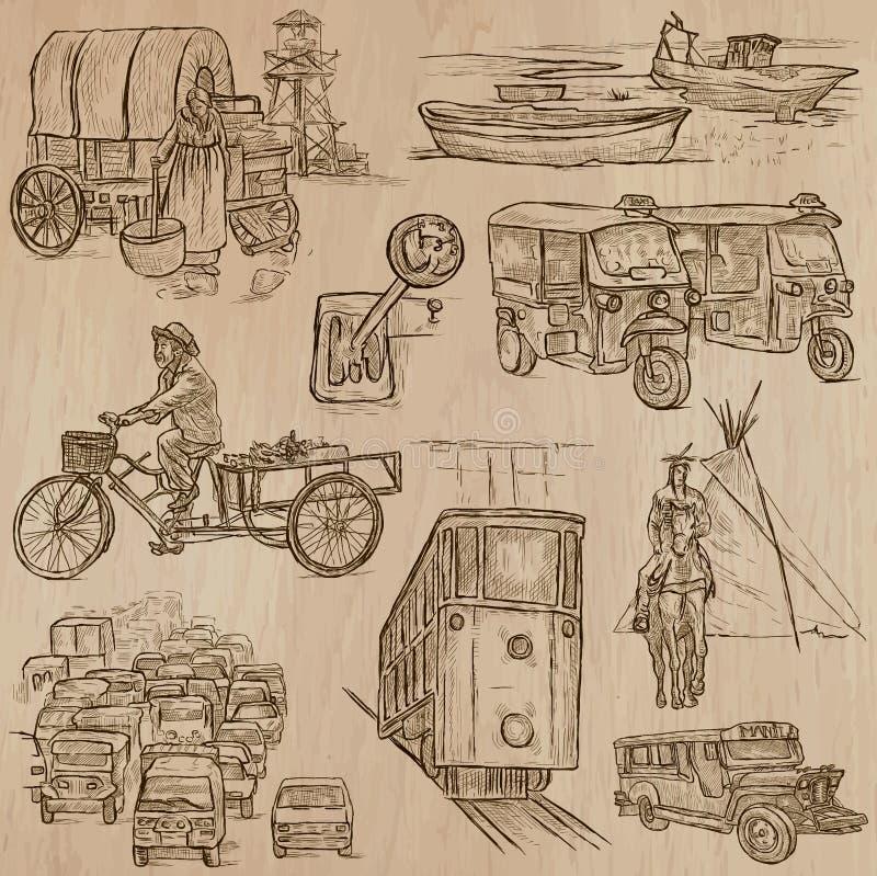Transport - ręka rysująca wektor paczka ilustracja wektor