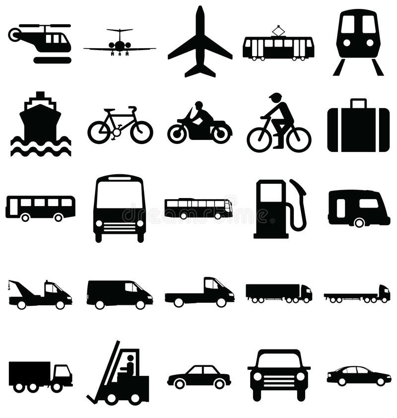 Transport Related Graphics. Black and white silhouette transport and travel related graphics collection isolated on white background vector illustration