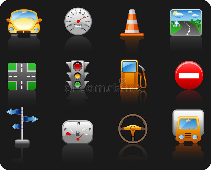 Download Transport And Road_black Background Icon Set Royalty Free Stock Image - Image: 11715826