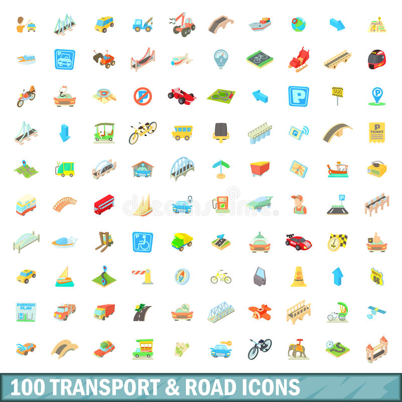 100 transport and road icons set, cartoon style vector illustration