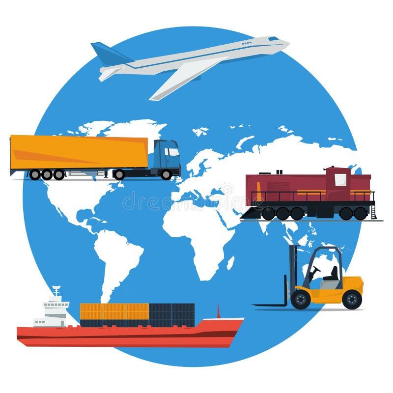 Transport rond de logistique de concept de vecteur illustration libre de droits