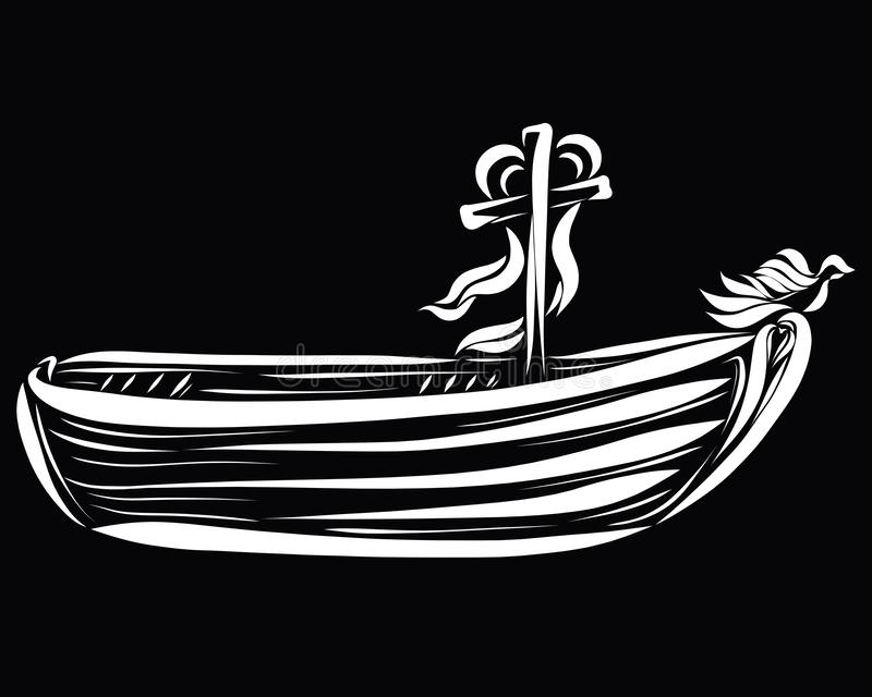 Transport sailing to Heaven, salvage boat, with a cross, heart a. Nd a bird vector illustration
