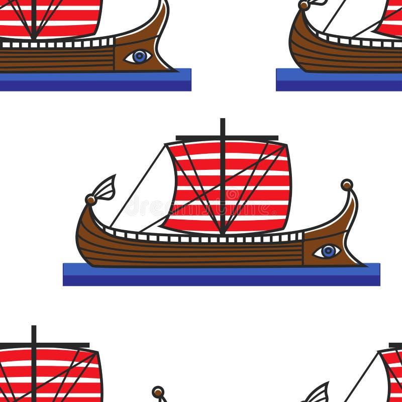 Transport sans couture de bateau du grec ancien ou d'eau de modèle d'office illustration stock