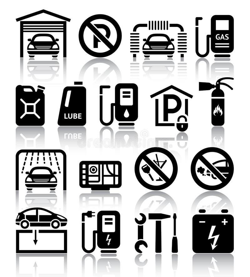 Transport service set of black icons stock photo