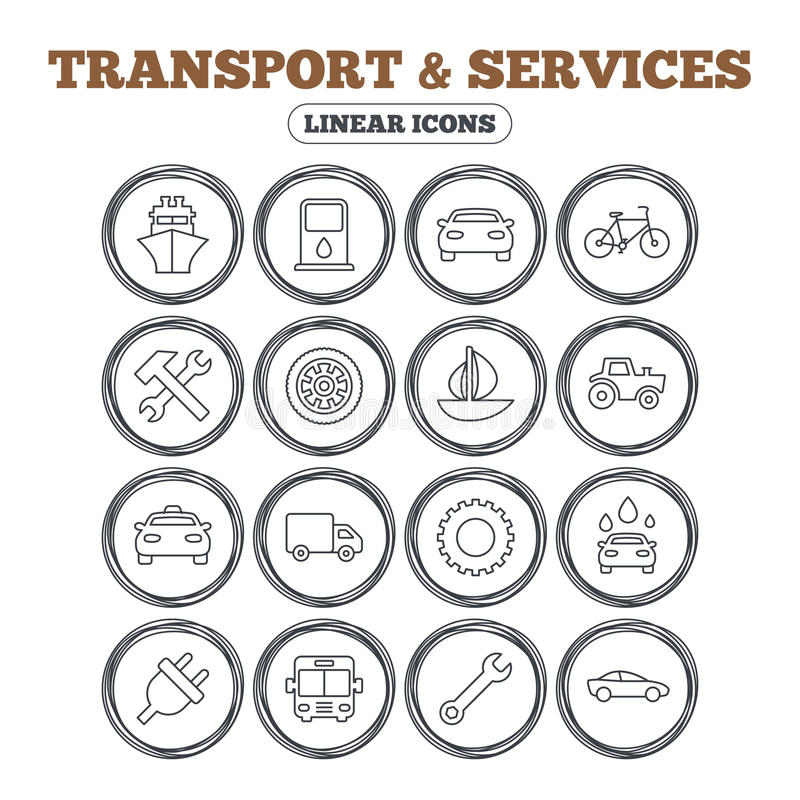 Transport, services icons. Ship, car and bus. vector illustration