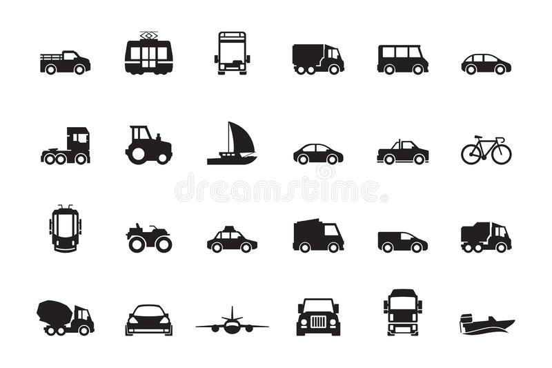 Transport silhouette. Airplanes ship car train vehicle logistic icons vector transporting symbols. Ship and vehicle transportation, car and public transport royalty free illustration