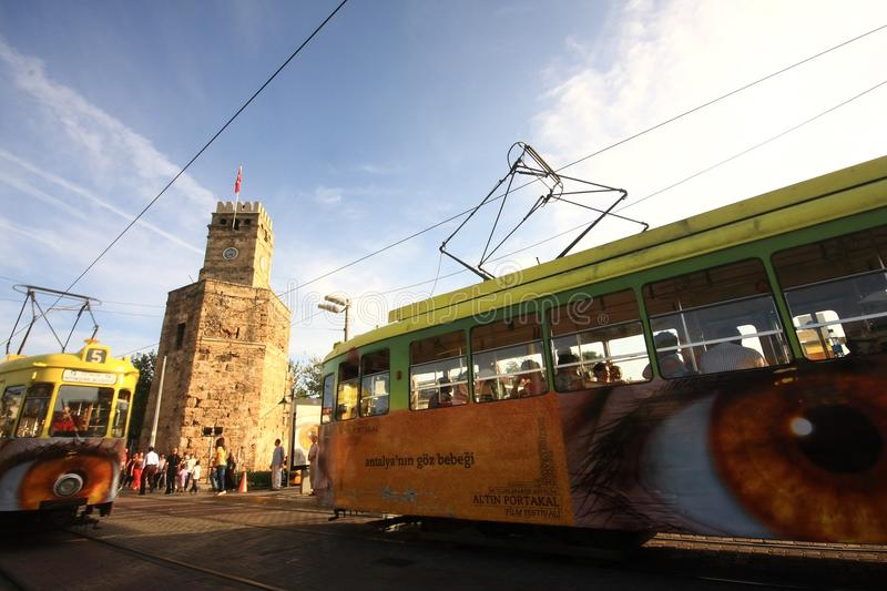 Transport, Sky, Vehicle, Tram stock photo