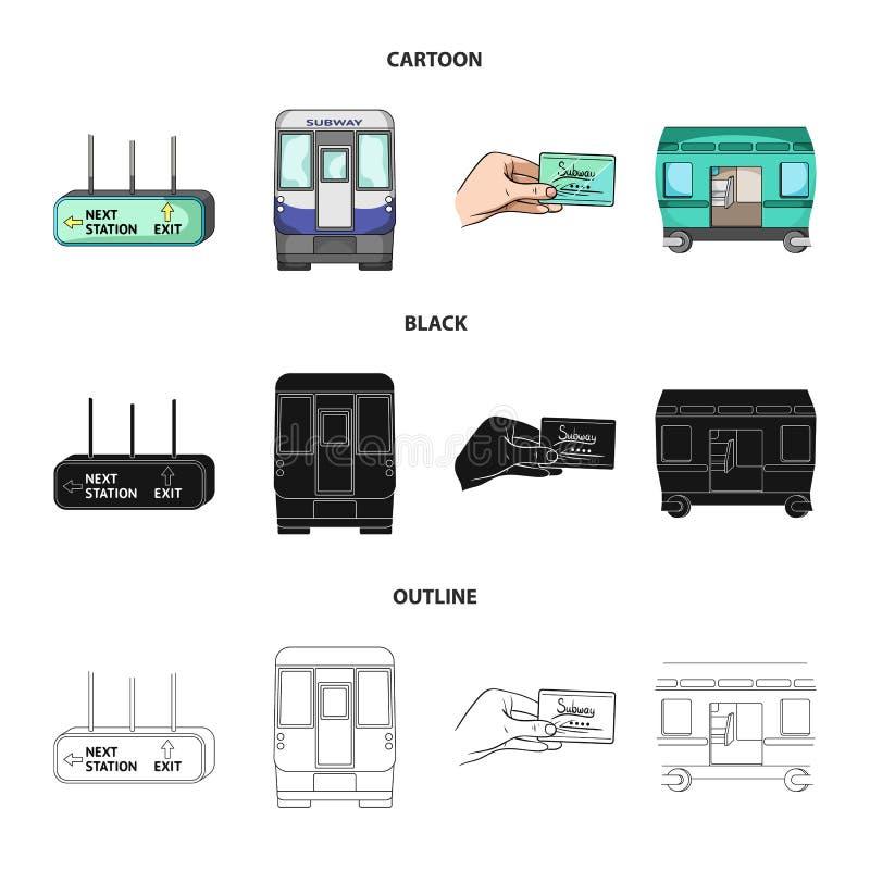 Transport, społeczeństwo, pociąg i inna sieci ikona w kreskówce, czerń, konturu styl Wyposażenie, atrybuty, mechanizm ikony w sec ilustracja wektor