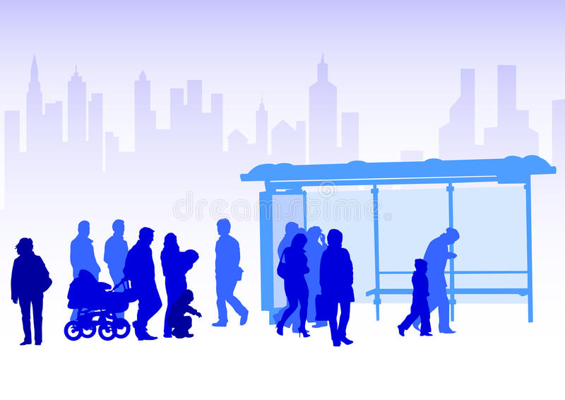 Transport stop people stock illustration