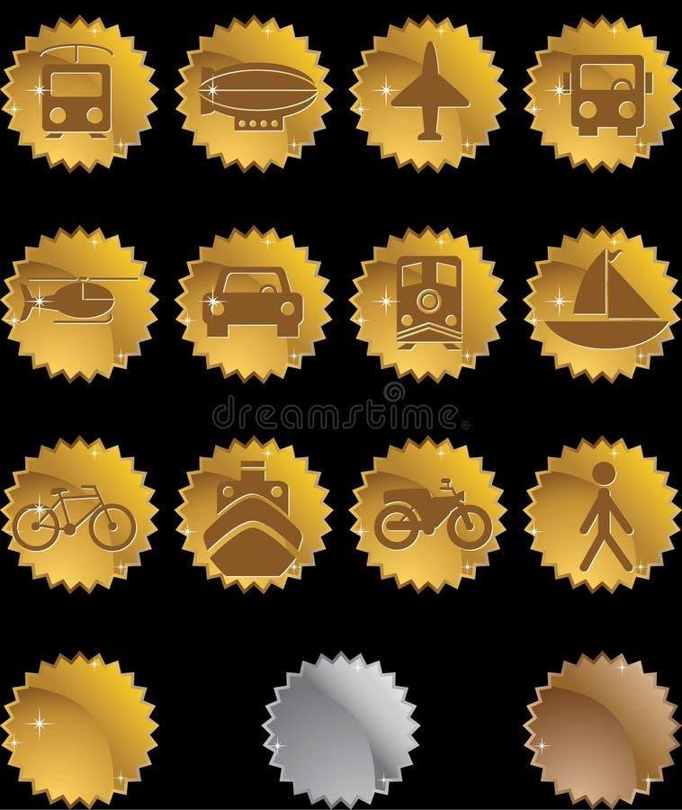 Transport-Tasten - Golddichtung lizenzfreie abbildung