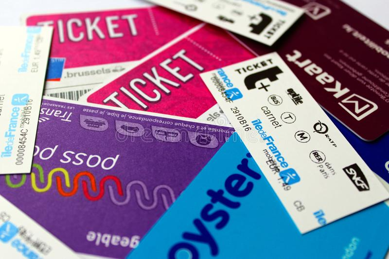 Transport tickets and passes from several cities, Luxembourg, Paris, Lille, Brussels, London. 1 March 2019 - Europe, transport tickets and passes from several royalty free stock image