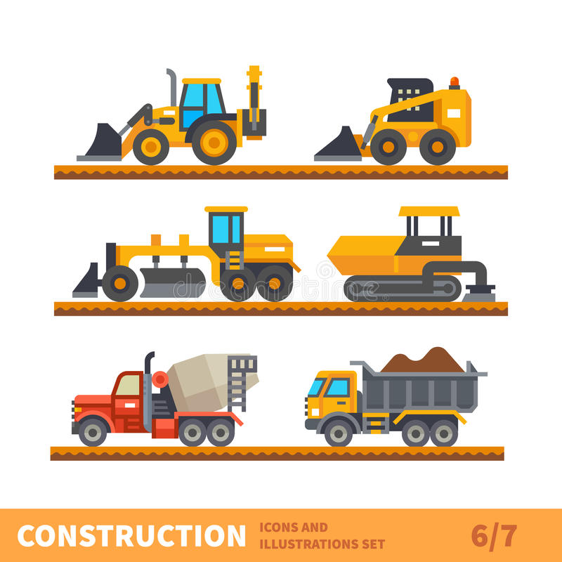 Transport and tool for construction royalty free illustration