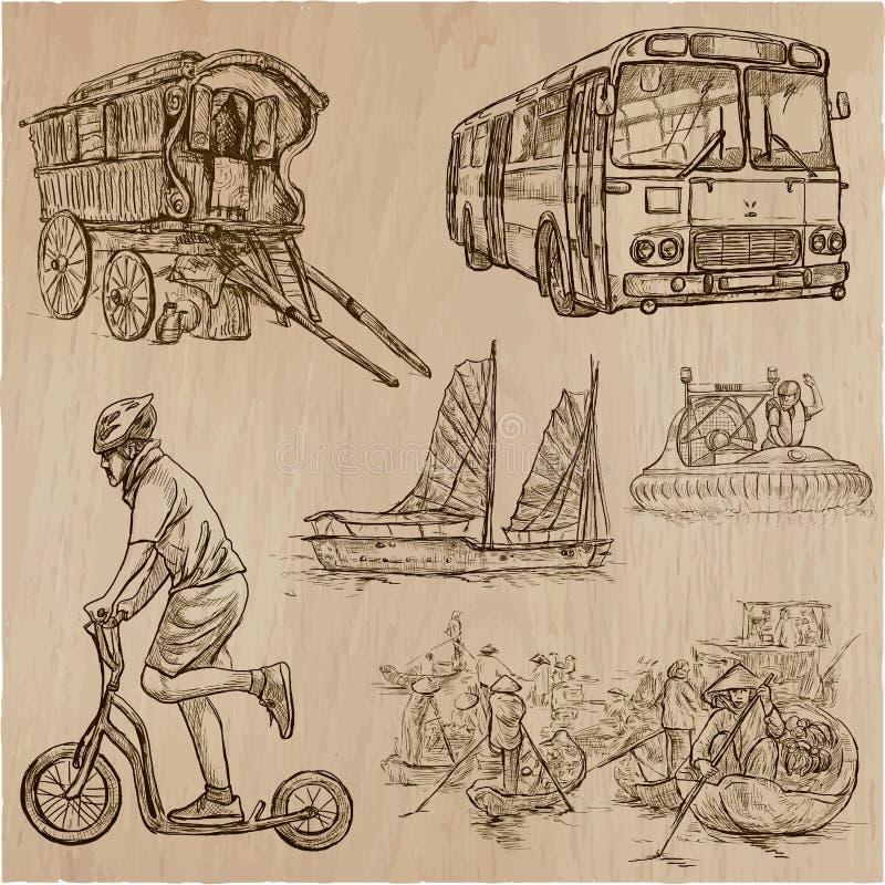 Transport trans. runt om världen - en hand dragen vecto vektor illustrationer