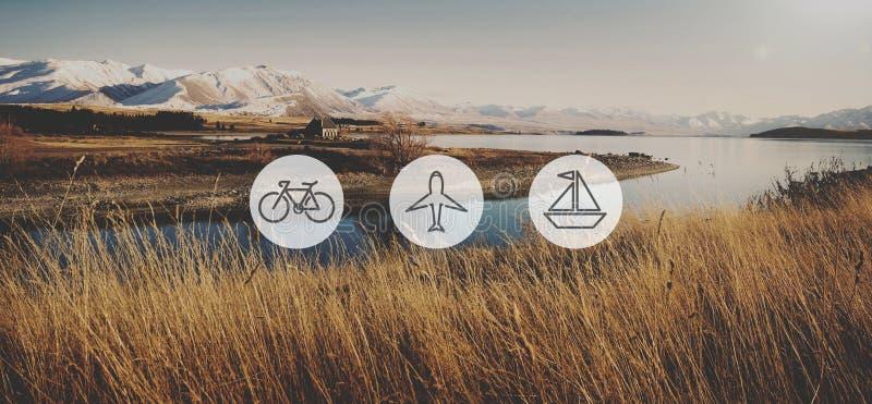 Transport-Transport-Ikonen-Reise-Reise-Reise-Konzept stockbilder