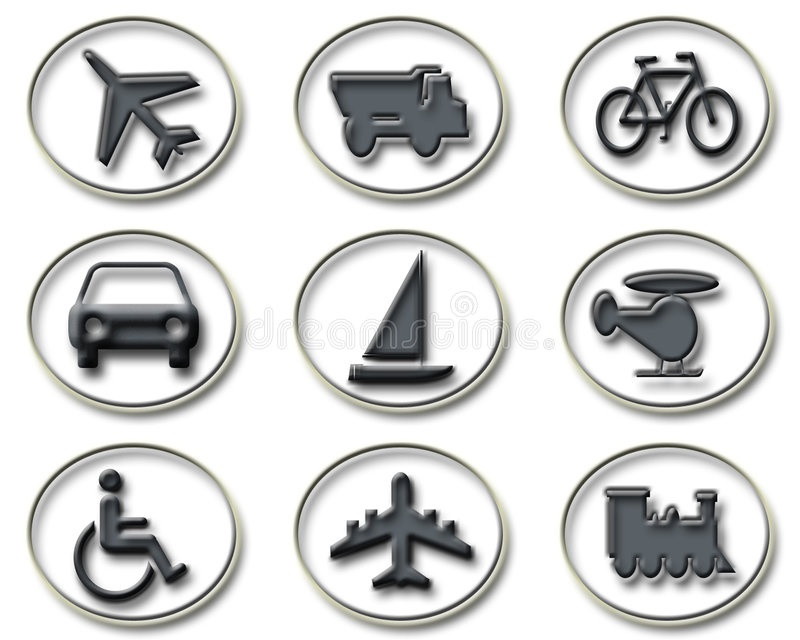 Download Transport & Travel icons stock illustration. Image of railroad - 9350335