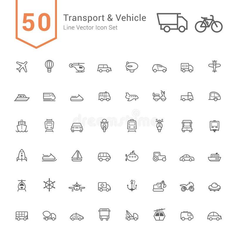 Transport u. Fahrzeug-Ikonen-Satz 50 Linie Vektor-Ikonen vektor abbildung