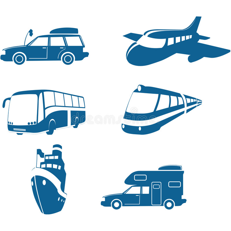 Transport- u. Reisenikonen stock abbildung