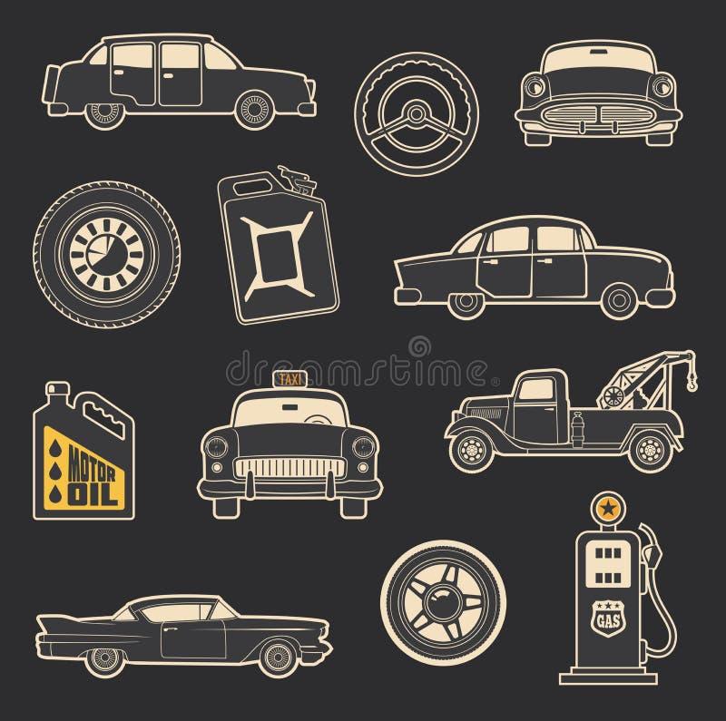 Transport, véhicule et icônes de vintage de service illustration de vecteur