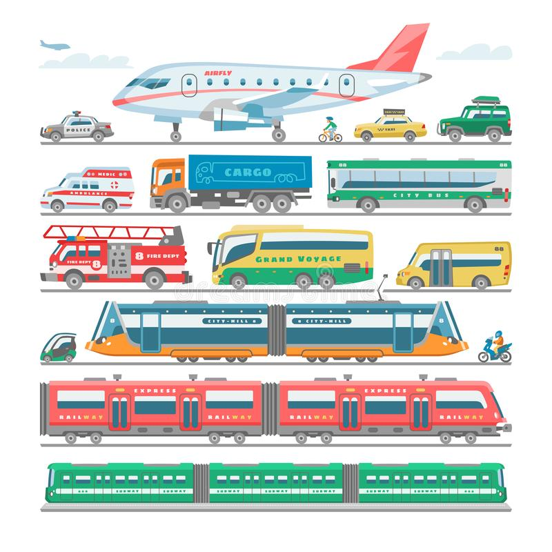 Transport vector public transportable bus or vehicle and plane or train illustration bicycle for transportation in city royalty free illustration