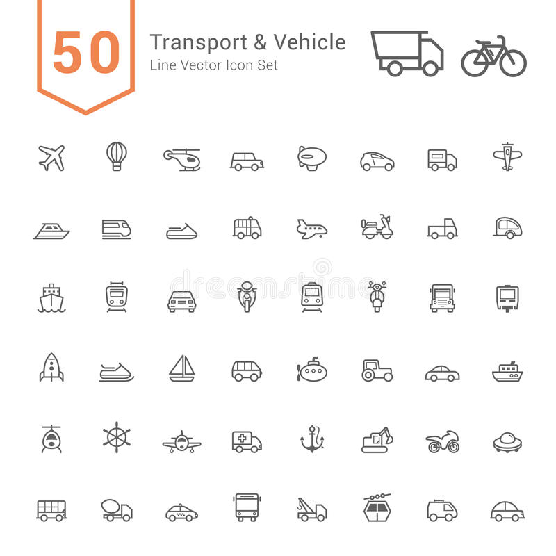 Free Transport & Vehicle Icon Set. 50 Line Vector Icons. Royalty Free Stock Images - 83471069