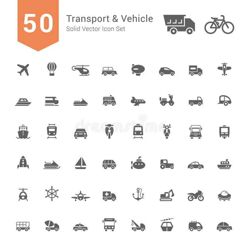 Transport & Vehicle Icon Set. 50 Solid Vector Icons. Transport & Vehicle Icon Set. 50 Solid Vector Icons illustration vector illustration