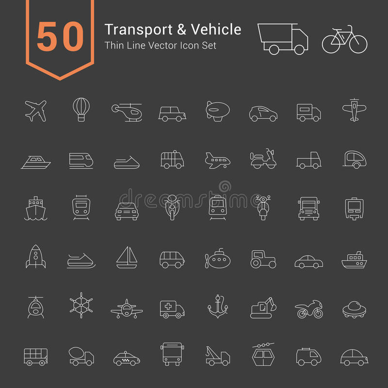 Transport and Vehicle Icon Set. 50 Thin Line Vector Icons. vector illustration