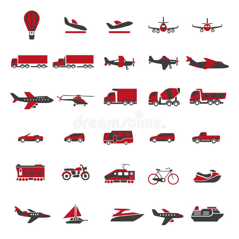 Transport and vehicles vector flat isolated icons set. Transport and vehicles flat icons. Vector set of aircraft and helicopter, truck and lorry, boat and ship stock illustration