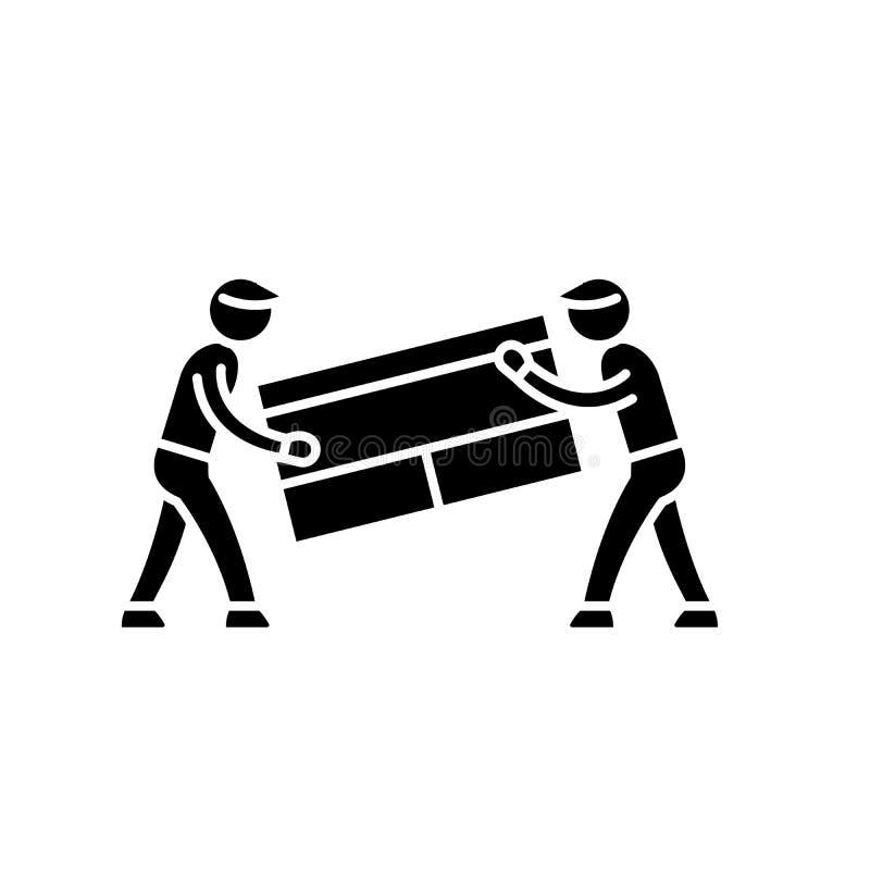 Transport von Sachen schwarze Ikone, Vektorzeichen auf lokalisiertem Hintergrund Transport des Sachenkonzeptsymbols lizenzfreie abbildung
