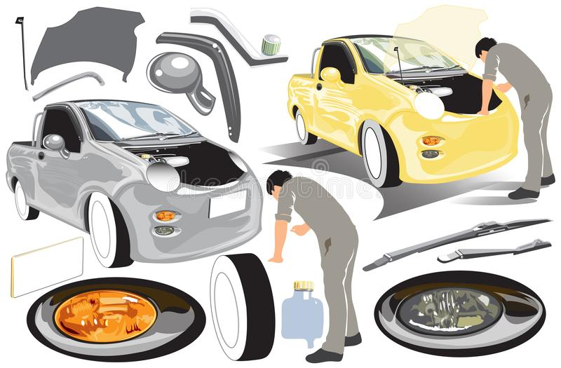 Transport worker mini pickup truck service industry infographic royalty free illustration