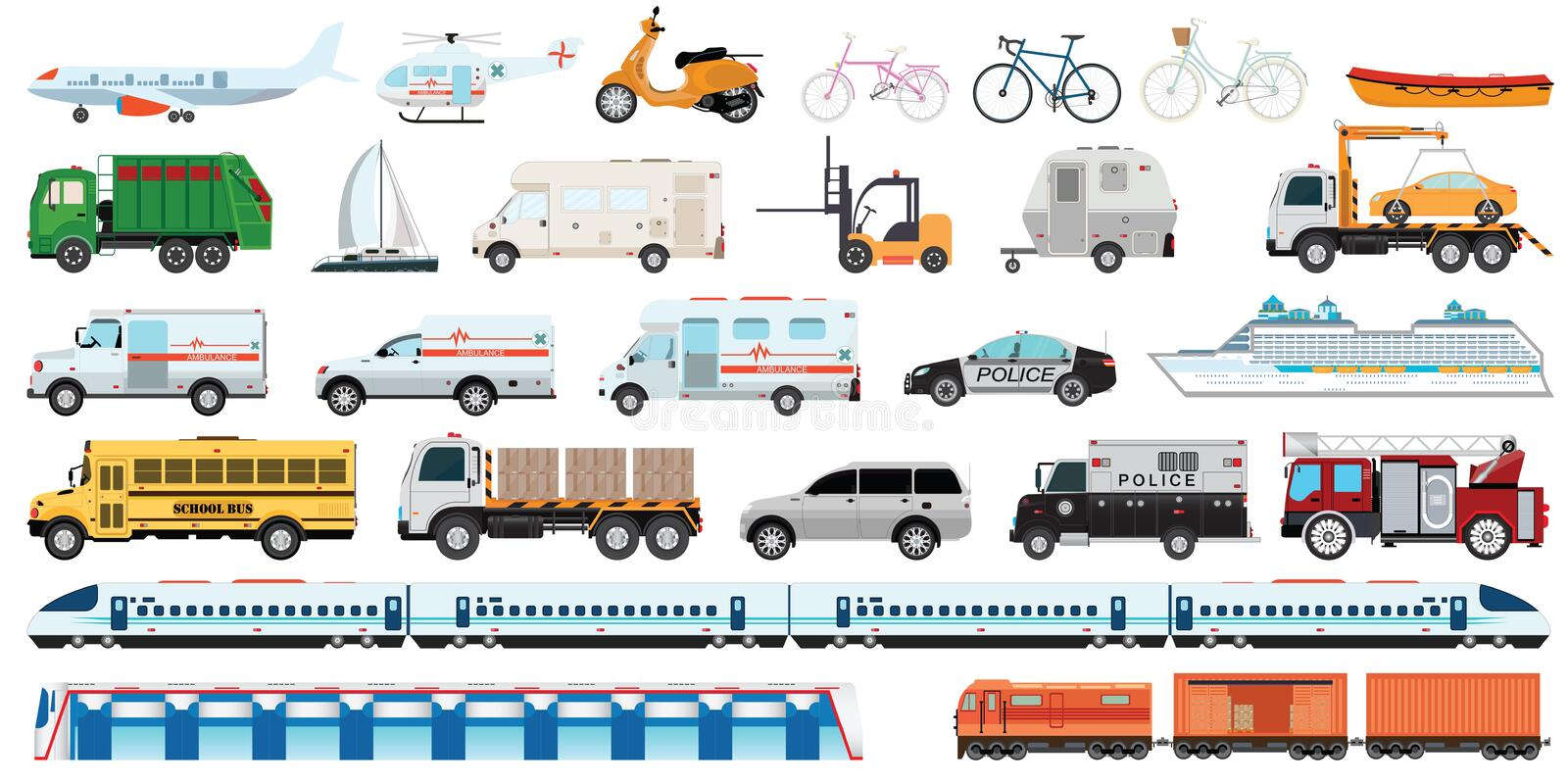 Transportable vehicle set. Of airplane, subway train, car , bicycle and truck for transportation in city. Transport vector public set of ambulance fire-engine stock illustration