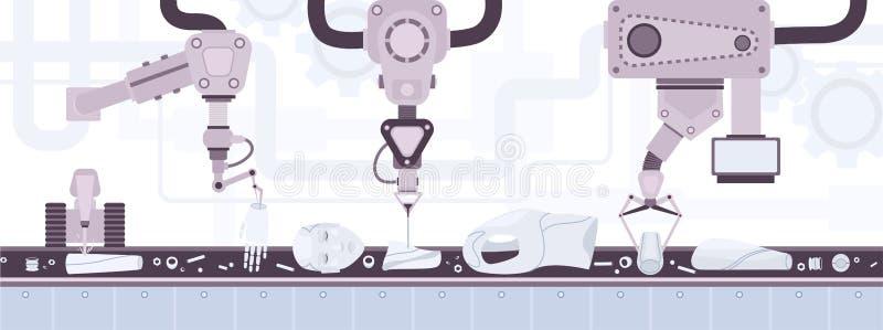 Transportador de correa industrial que transporta a las partes del cuerpo del robot con aspecto humano y poner industrial automát stock de ilustración
