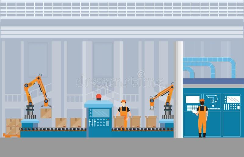 Transportador de fabricación de Warehouse con los trabajadores ilustración del vector