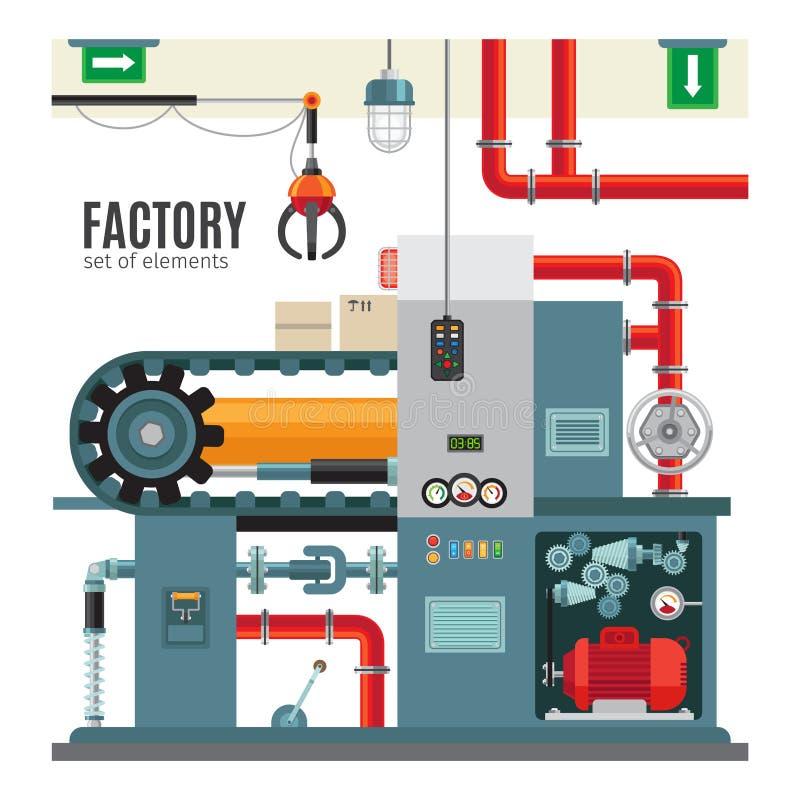 Transportador de la fabricación en estilo plano stock de ilustración