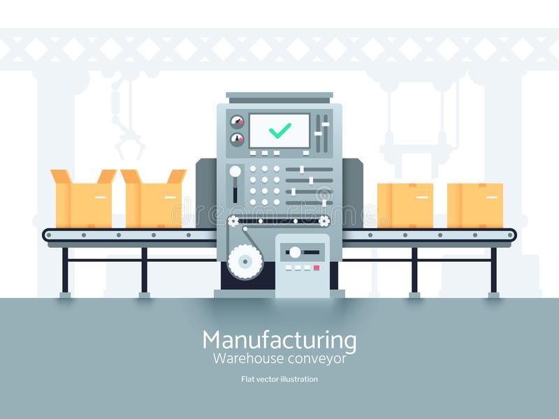 Transportador del almacén de la fabricación Cadena de producción de la asamblea concepto industrial del vector plano libre illustration