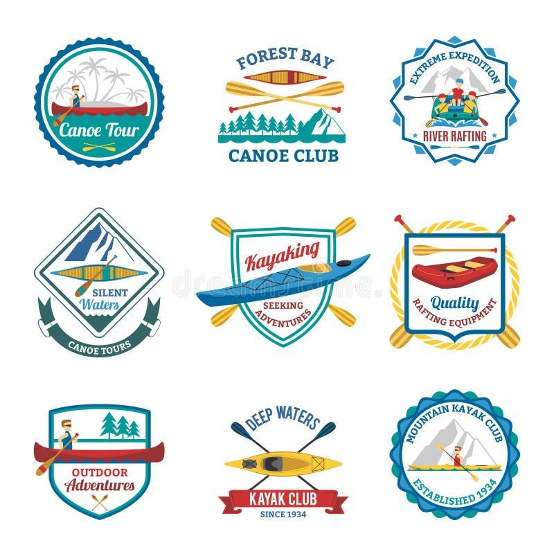 Transportando Canoeing e emblemas do caiaque ajustados ilustração stock