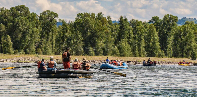 Transportant par radeau en Jackson Hole, le Wyoming photos libres de droits